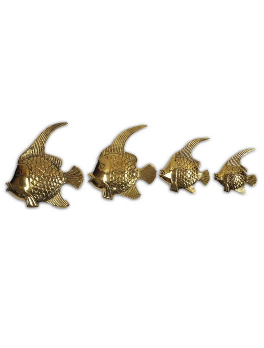 Brass Sea Gold Fish Set Of 4 Nautical Decor