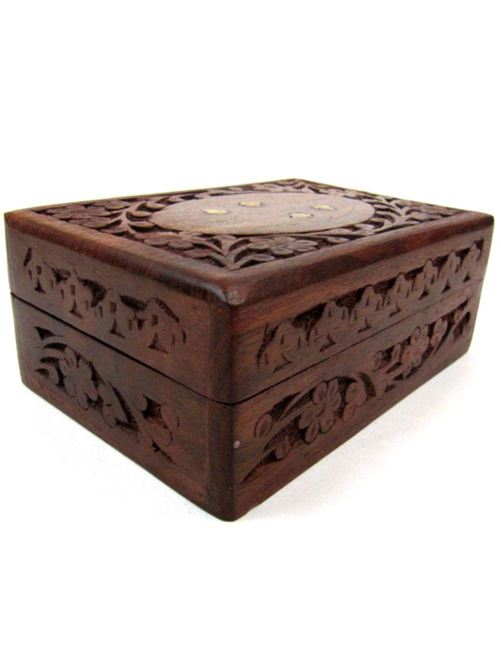 Carved Sheesham Wood Box Inlay Design